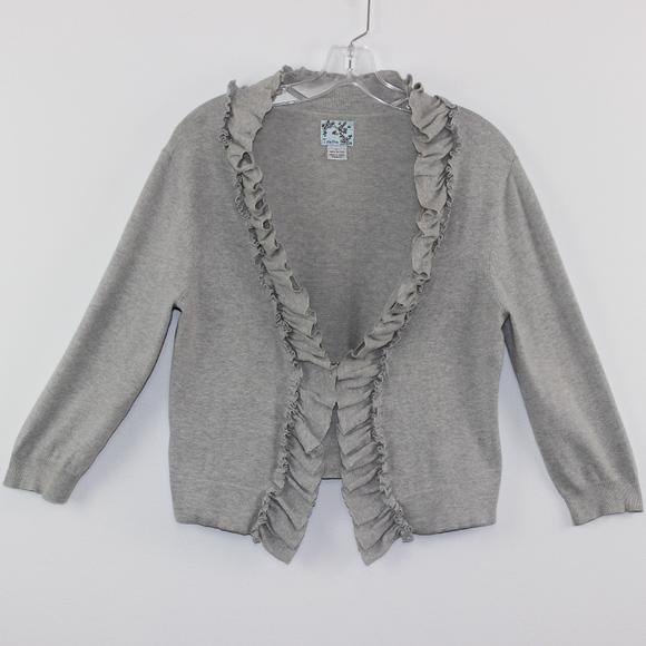 Tabitha Sweaters - 💘 Tabitha Ruffled Gray Open Cardigan Sweater L